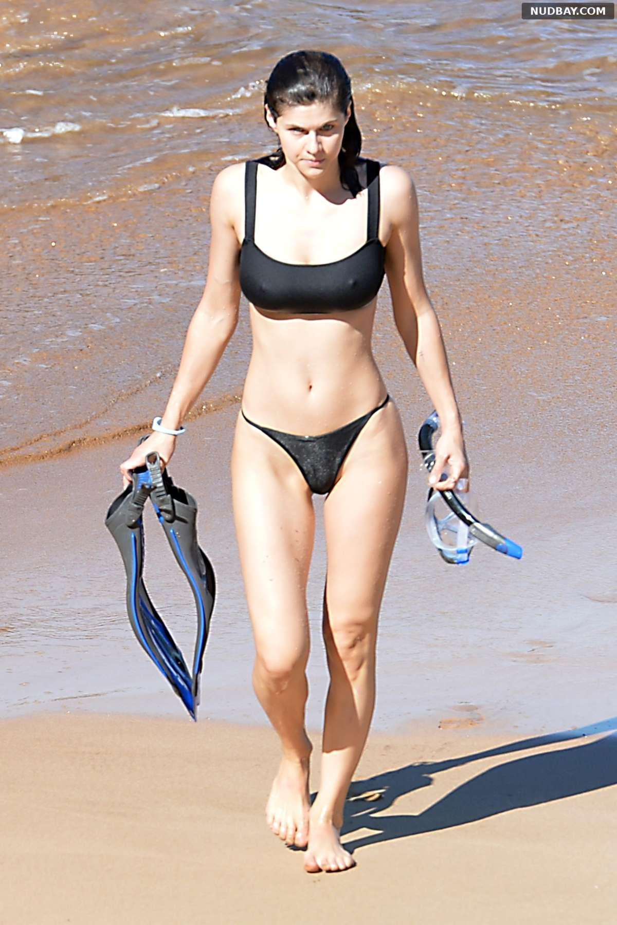 Alexandra Daddario in black bikini