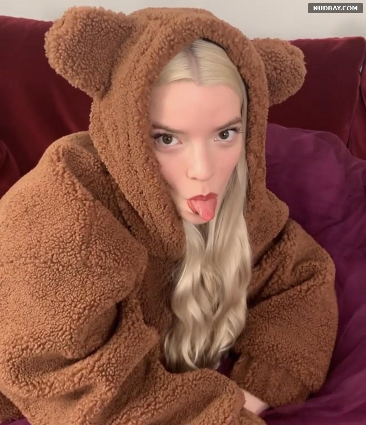 Anya Taylor Joy shows tongue