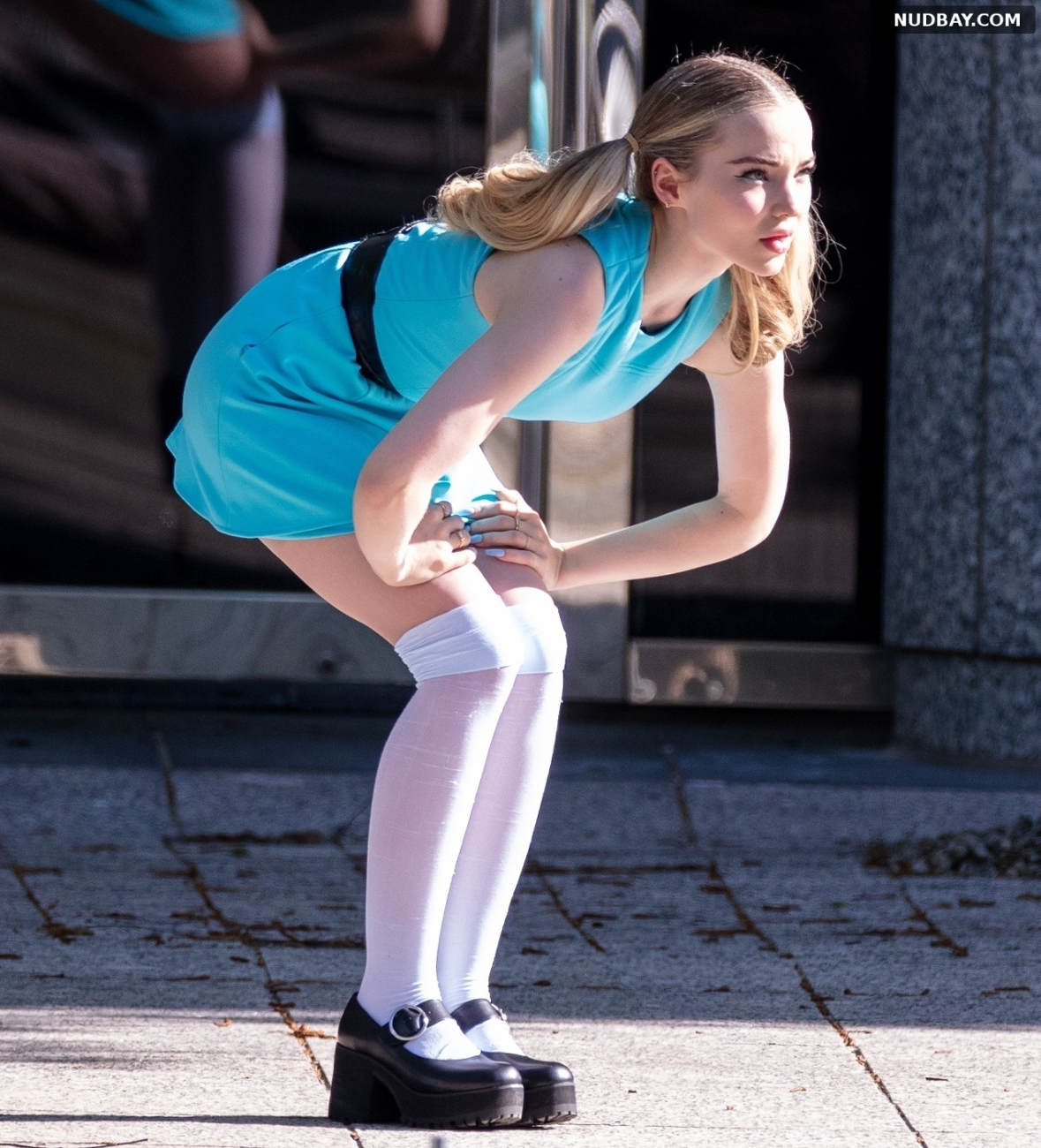 Dove Cameron filming Powerpuff Girls in Atlanta