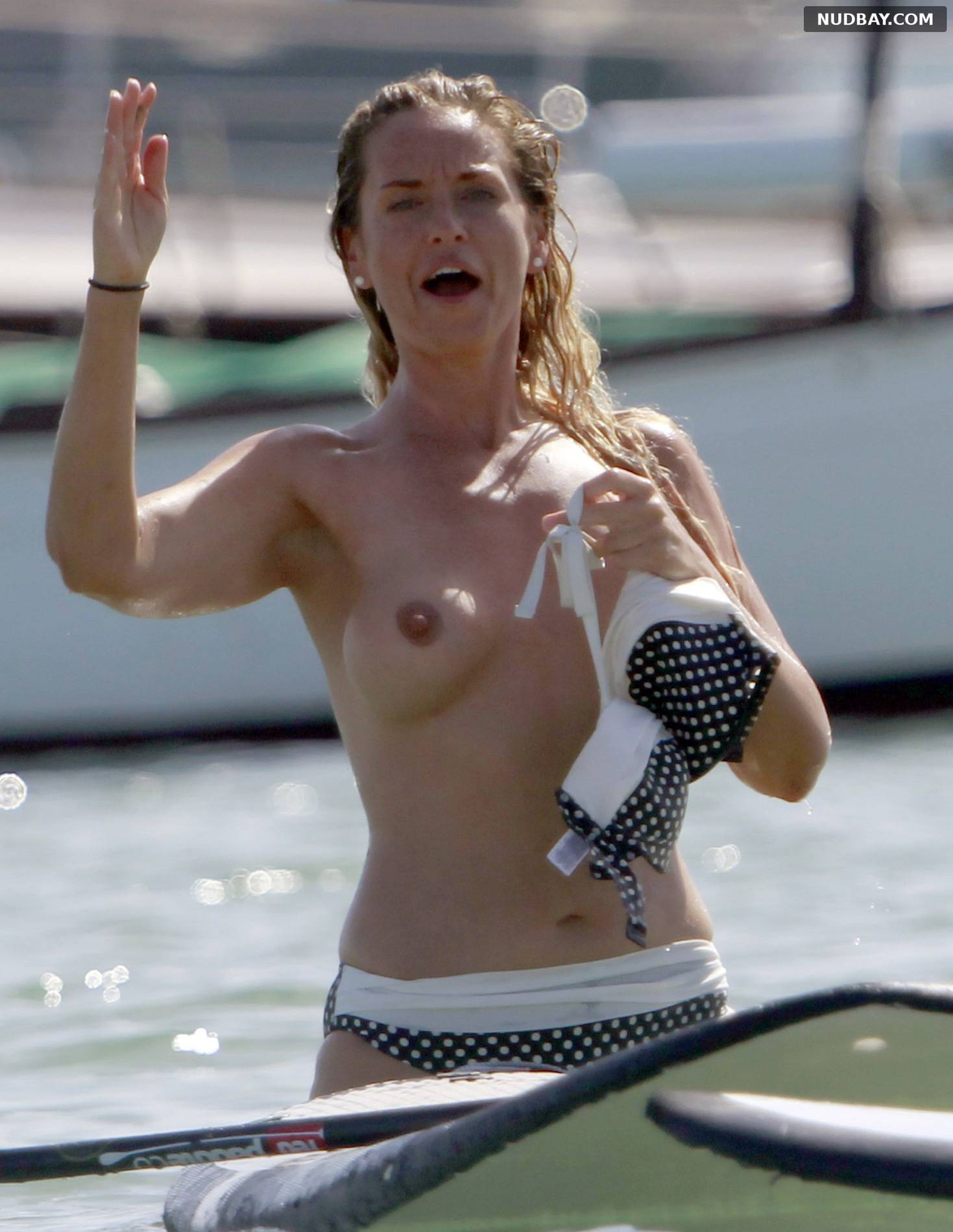 Josie Gibson Topless paddleboarding in Formentera Aug 18 2015