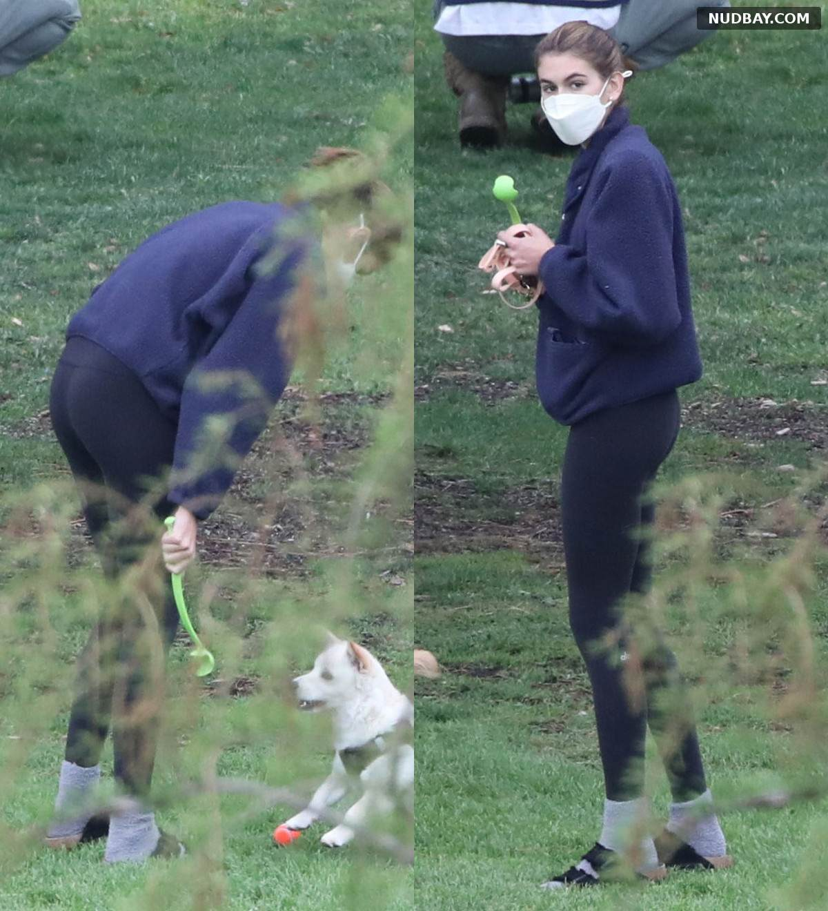 Kaia Gerber ass Playing with her puppies at a park in West Hollywood