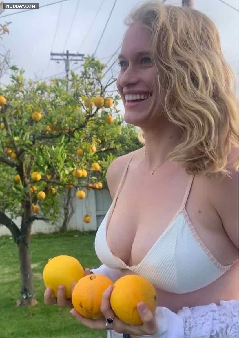 Leven Rambin holding fruit May 08 2020