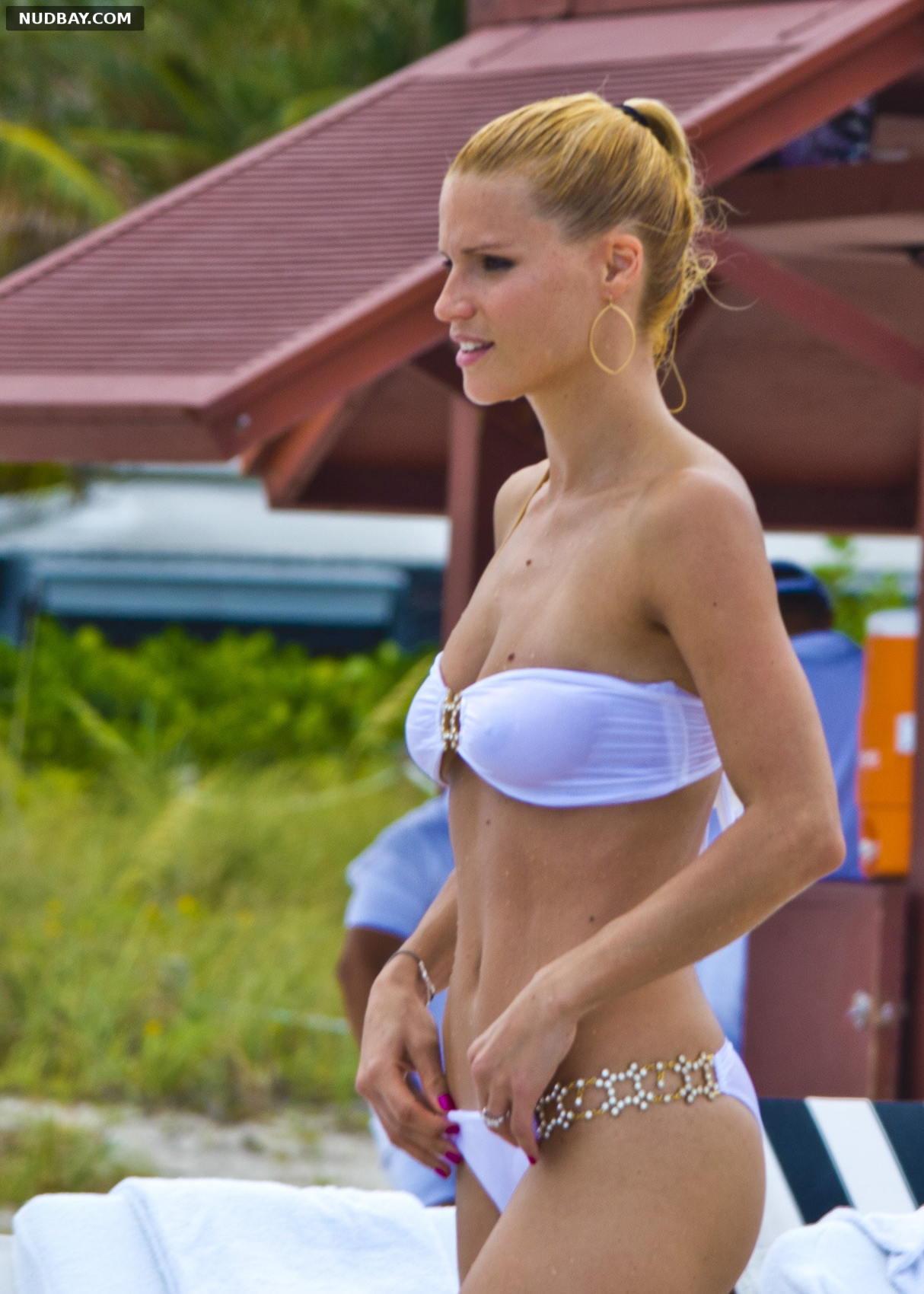 Michelle Hunziker see through bikini on the beach in Miami