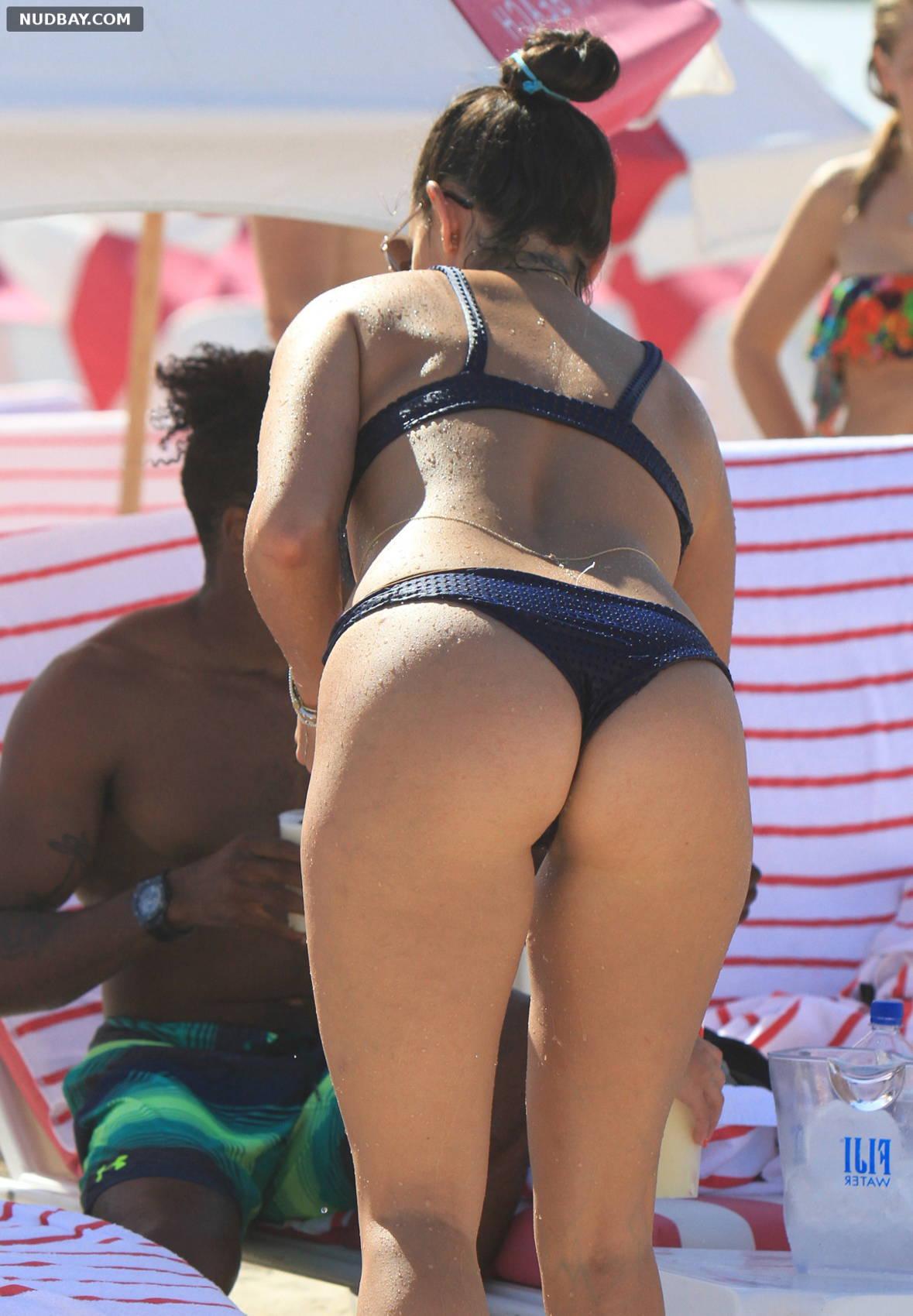 Natalie Martinez in Blue Bikini in Miami
