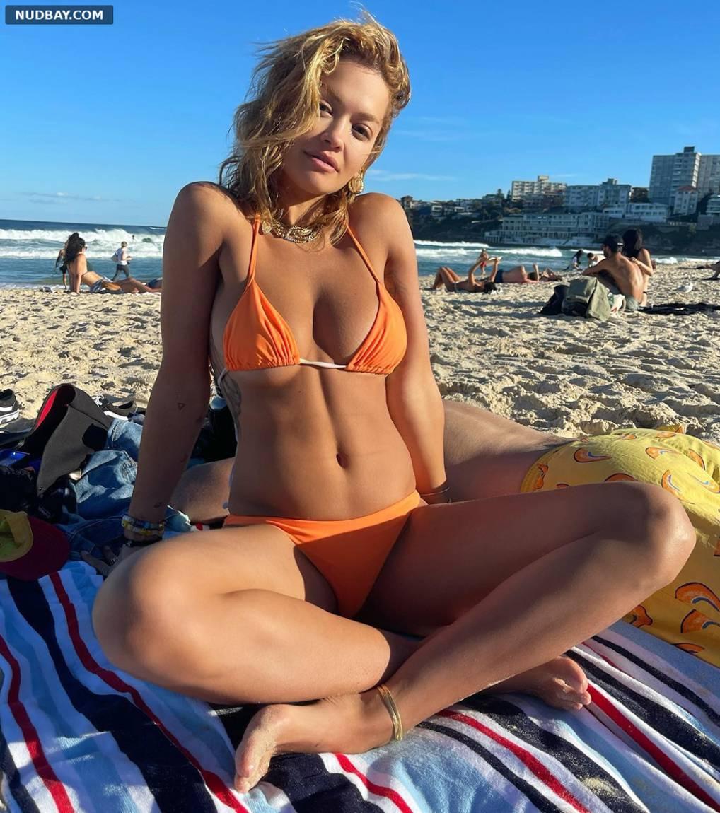 Rita Ora orange bikini at Bondi Beach
