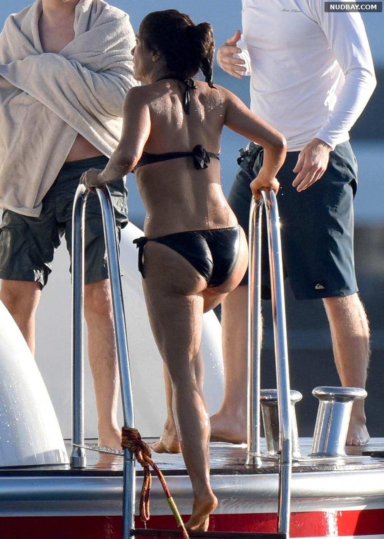Salma Hayek Ass wearing a bikini in St Barts Dec 26th 2014