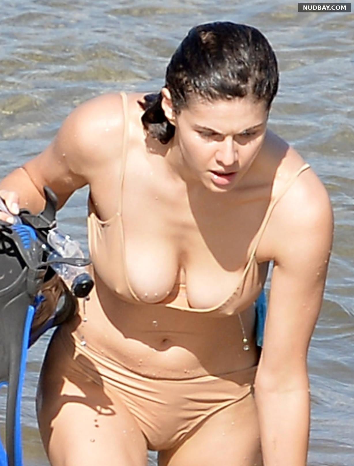 Alexandra Daddario boobs in a bikini on the beach in Maui Nov 26 2020