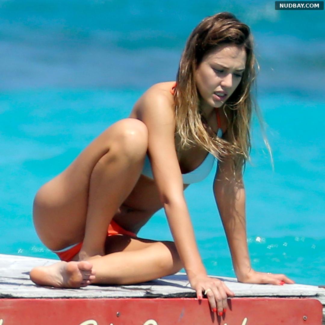 Jessica Alba wearing a bikini at a beach in St Barts 1