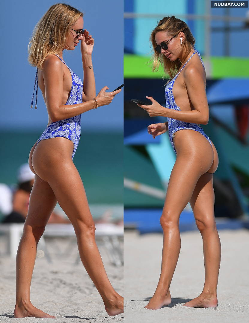 Kimberley Garner in a swimsuit at a beach in Miami May 11 2021 1