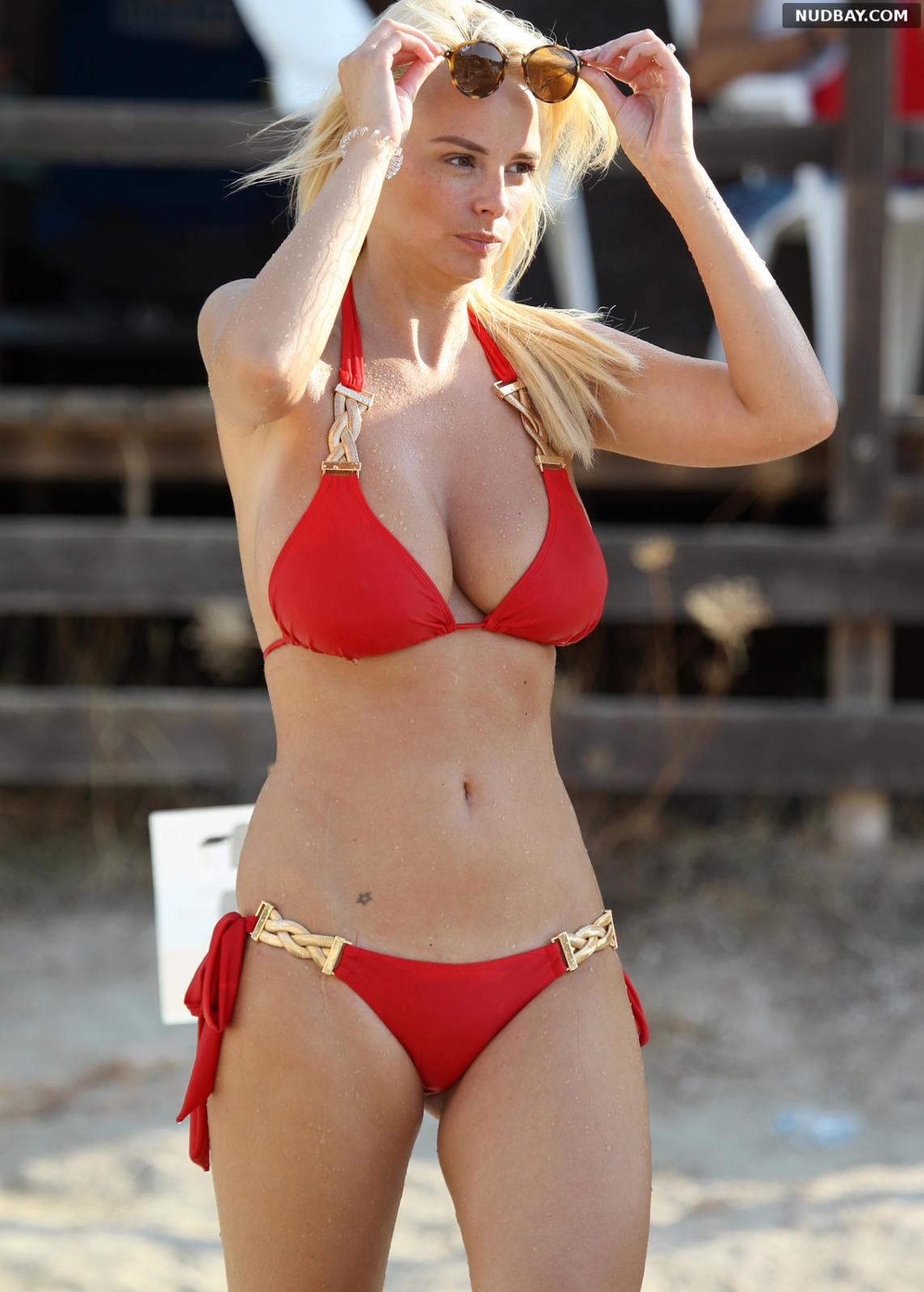 Rhian Sugden Red Bikini on the Beach in Ibiza Sep 11 2016
