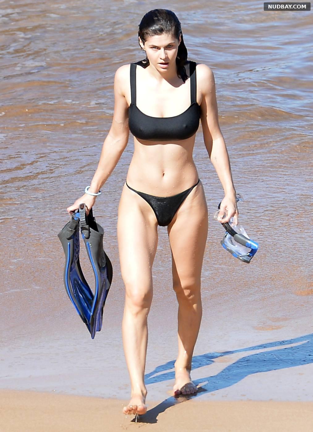 Alexandra Daddario in a black bikini on the beach in Maui Hawaii Dec 01 2020