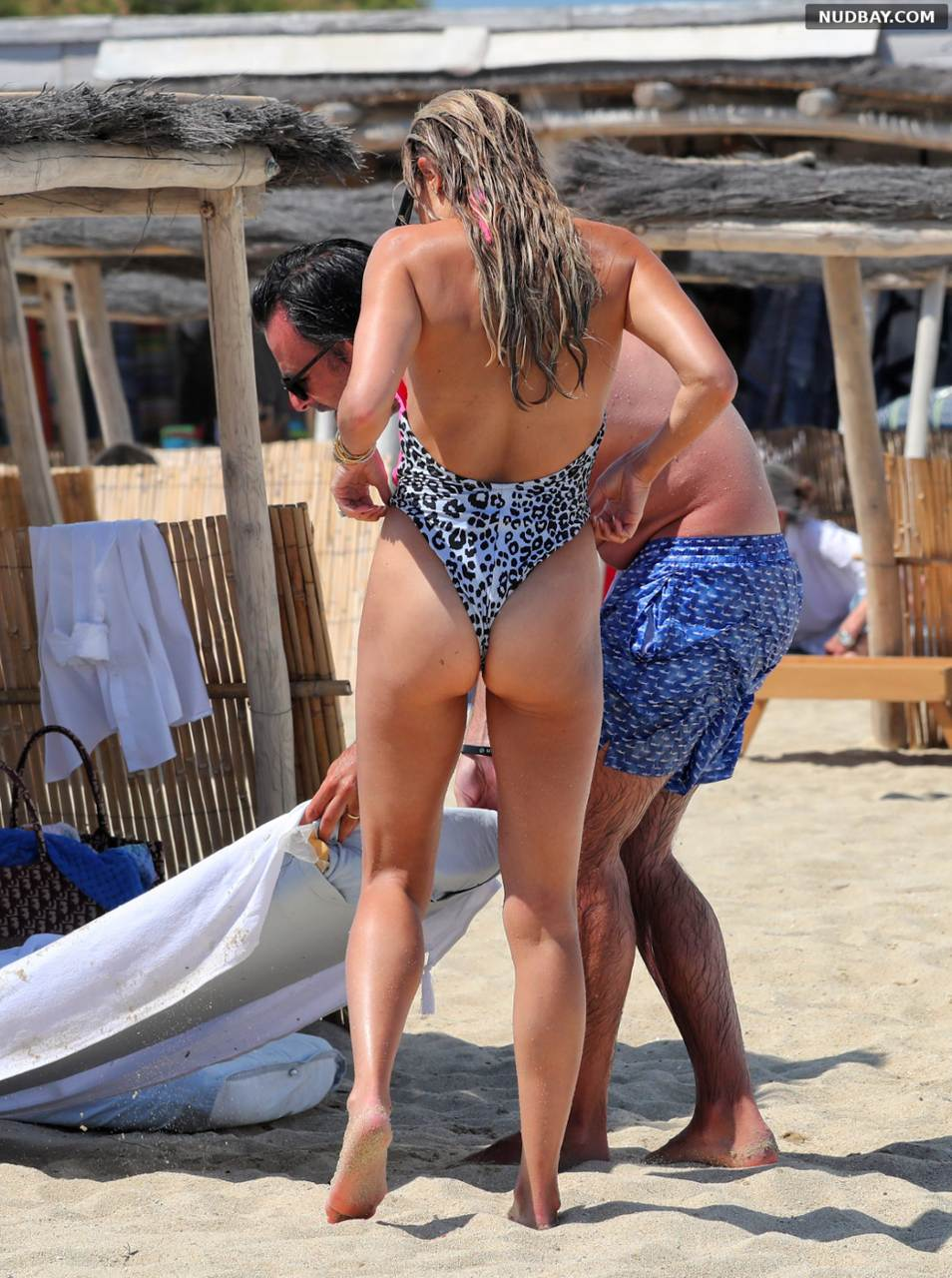 Sylvie Meis ass in swimsuit in Saint Tropez Jun 11 2021