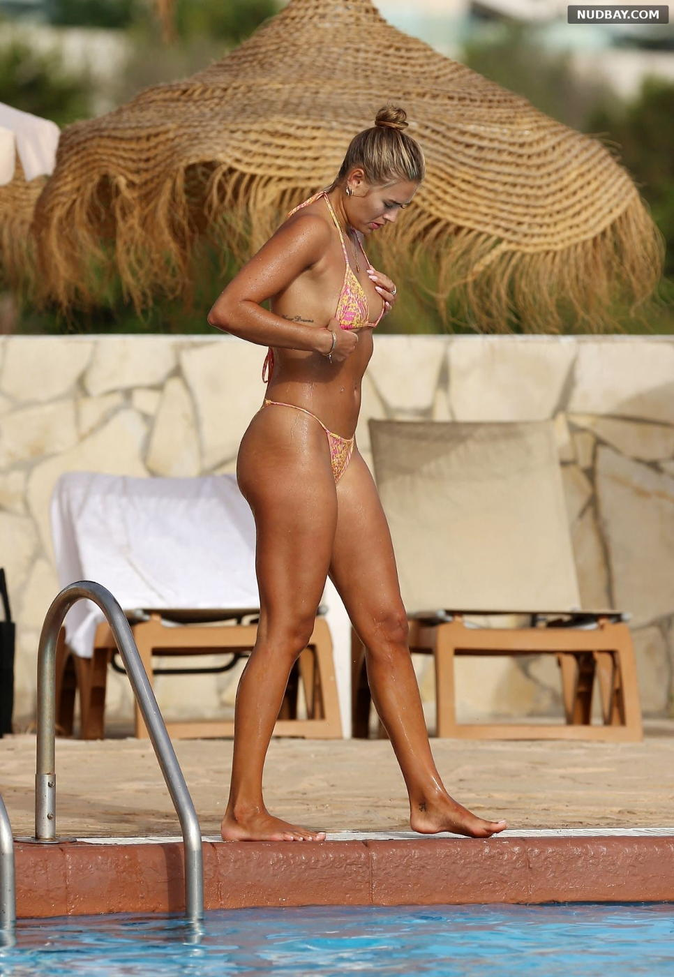 Arabella Chi sexy at a Pool on Holiday in Ibiza July 15 2021