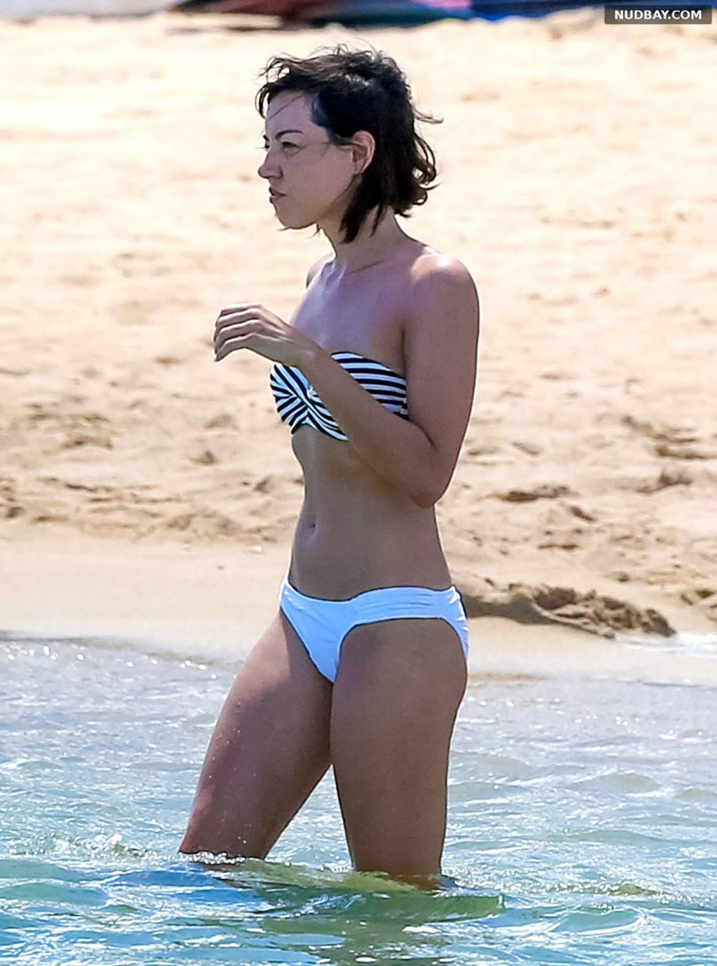 Aubrey Plaza wearing a bikini at a beach in Hawaii Jul 20 2015