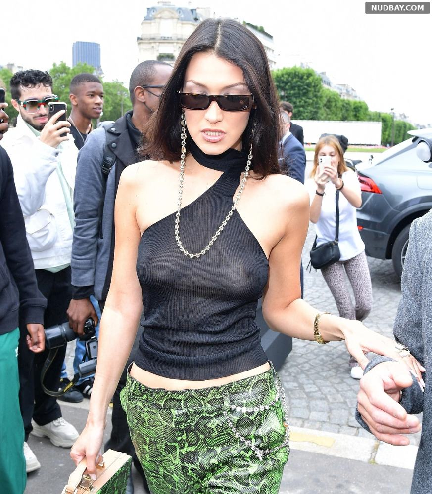 Bella Hadid in a see-through top as she steps out in Paris Jun 25 2021
