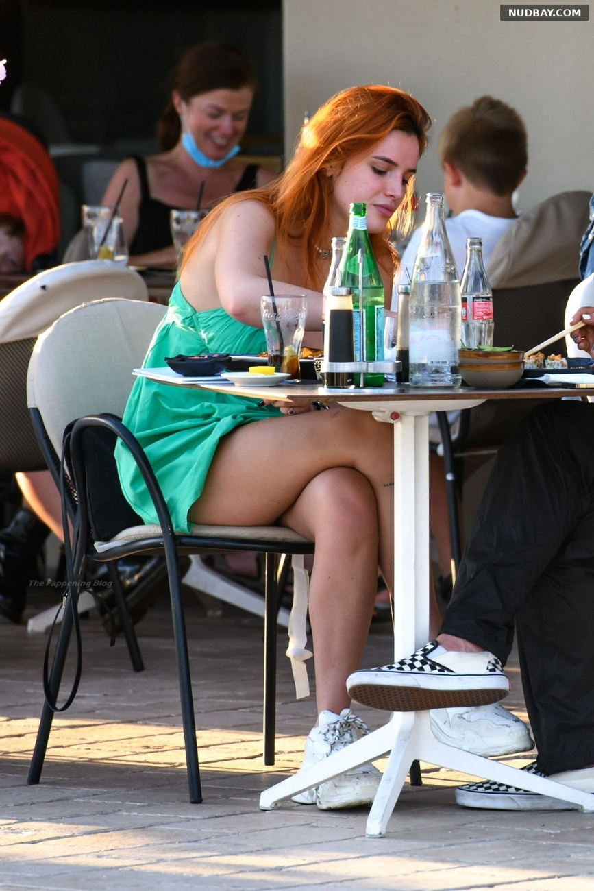 Bella Thorne Leggy out for dinner in Cannes Jun 17 2021