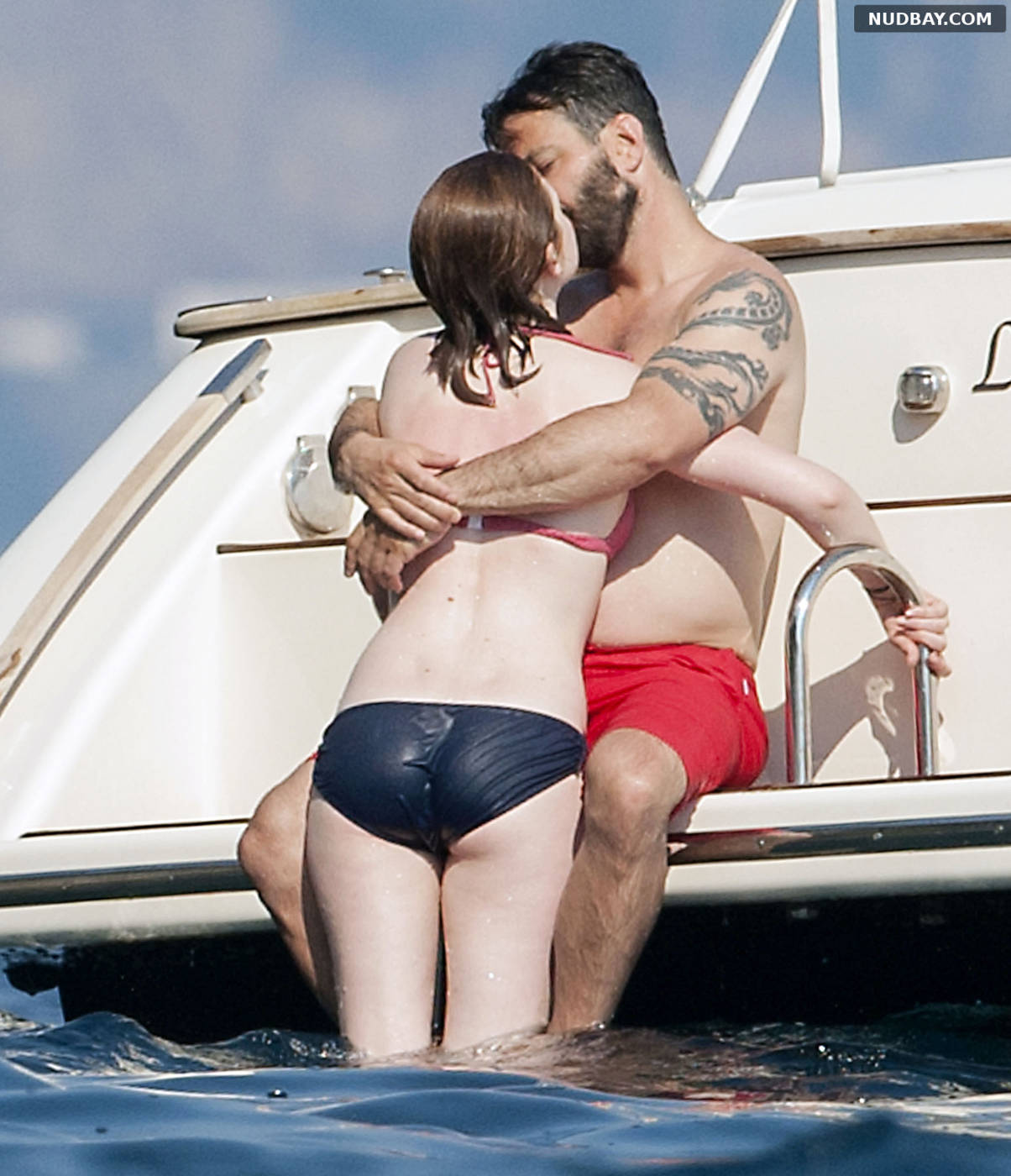Bonnie Wright in a Bikini on a Boat Trip on Vacation in Italy Jul 27 2013