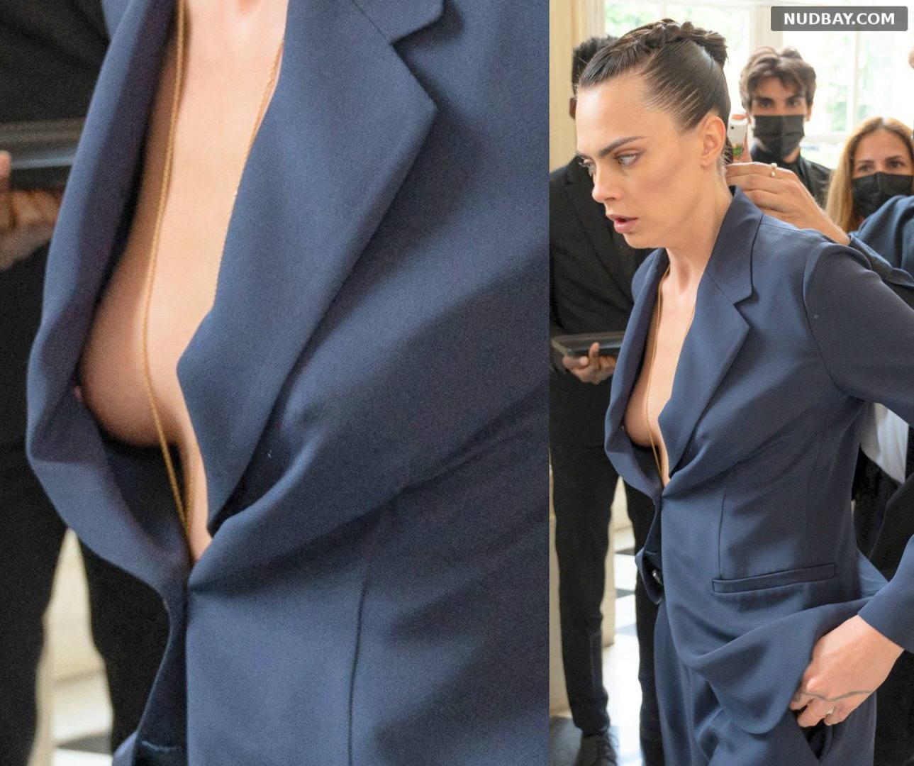 Cara Delevingne Nip slip at Paris Fashion Week Jul 05 2021