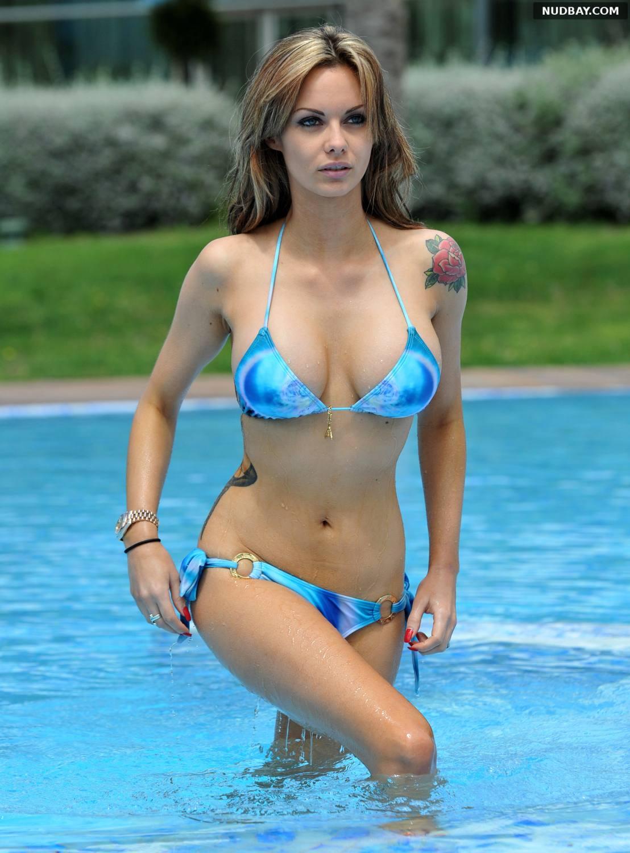 Jessica Jane Clement enjoying the pool in a blue bikini in Izbiza May 05 2012