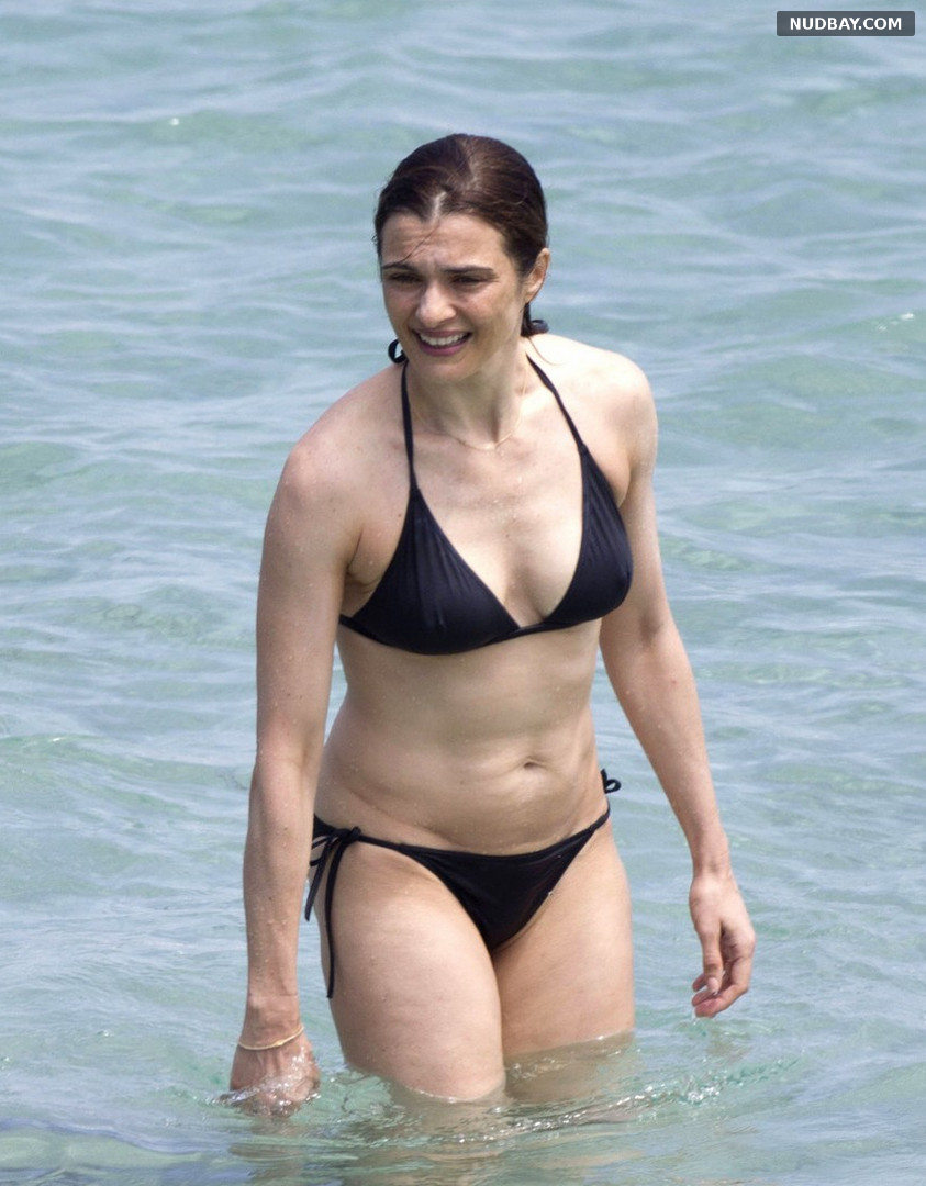 Rachel Weisz wearing a bikini at a beach in Menorca Jul 23 2015