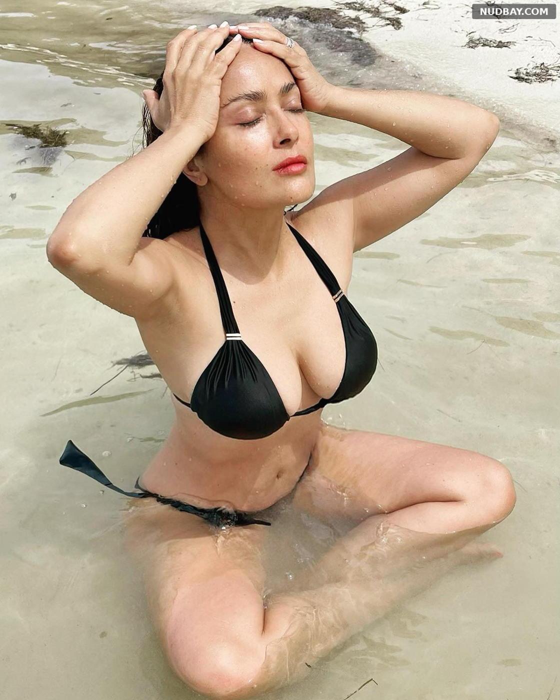 Salma Hayek in black bikini Jan 19 2021