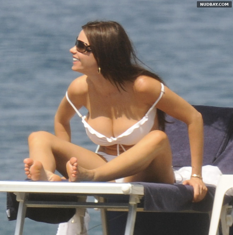 Sofia Vergara Boobs in a white bikini in Italy July 12 2010