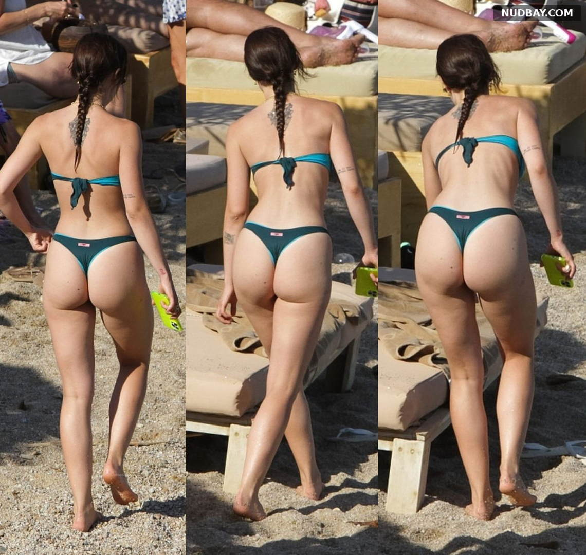 Aurora Ramazzotti Ass in a hot string bikini on the beach of Mykonos Aug 09 2021