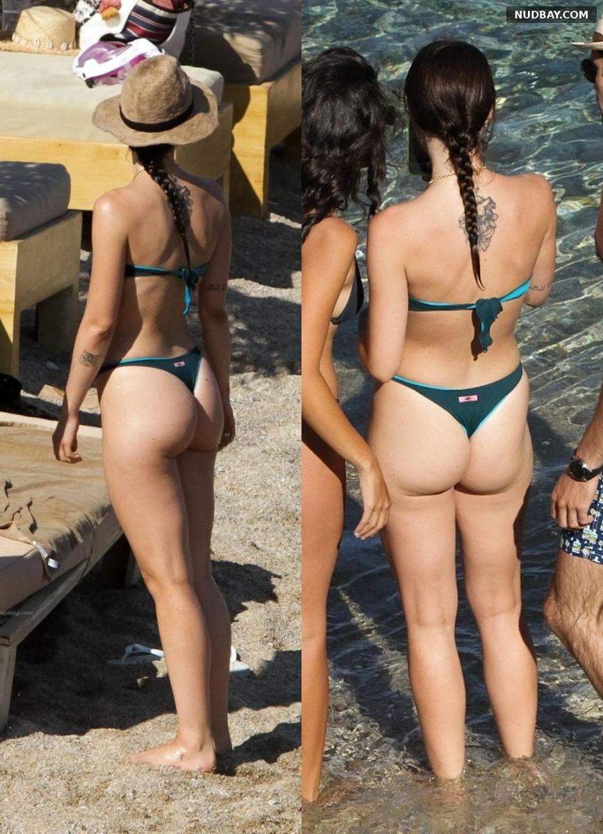 Aurora Ramazzotti Big Ass in a hot string bikini on the beach of Mykonos Aug 09 2021