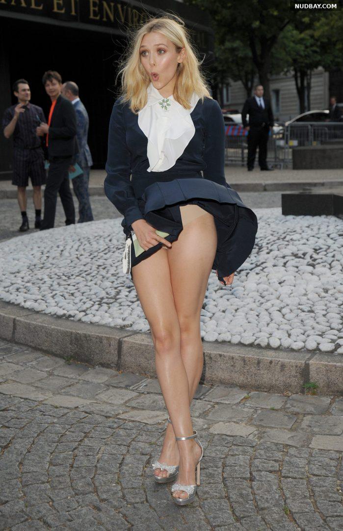 Elizabeth Olsen Hot Upskirt at Miu Miu Fragrance in Paris Jul 04 2015