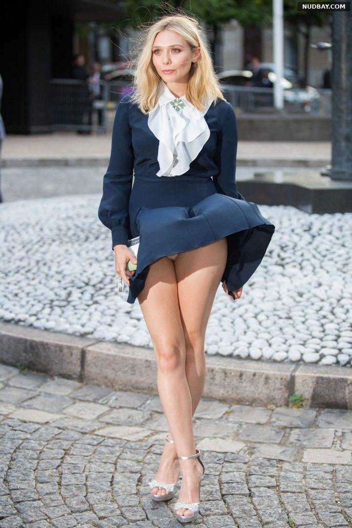 Elizabeth Olsen Sexy Upskirt at Miu Miu Fragrance in Paris Jul 04 2015