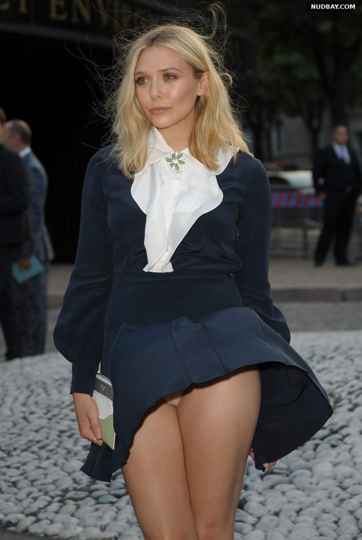 Elizabeth Olsen Upskirt Pussy at Miu Miu Fragrance in Paris Jul 04 2015