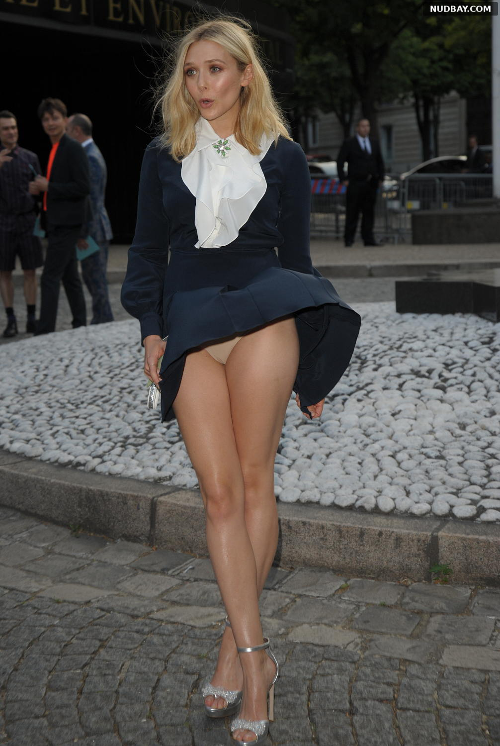 Elizabeth Olsen Upskirt at Miu Miu Fragrance And Croisiere 2016 Collection Launch in Paris Jul 04 2015