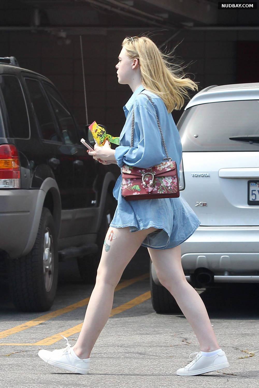 Elle Fanning in Denim Short Out in Los Angeles Jun 28 2016