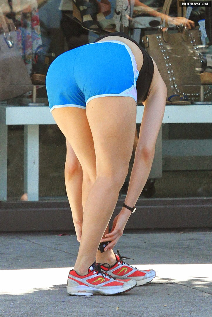 Emmy Rossum booty out in Los Angeles Jul 11 2014