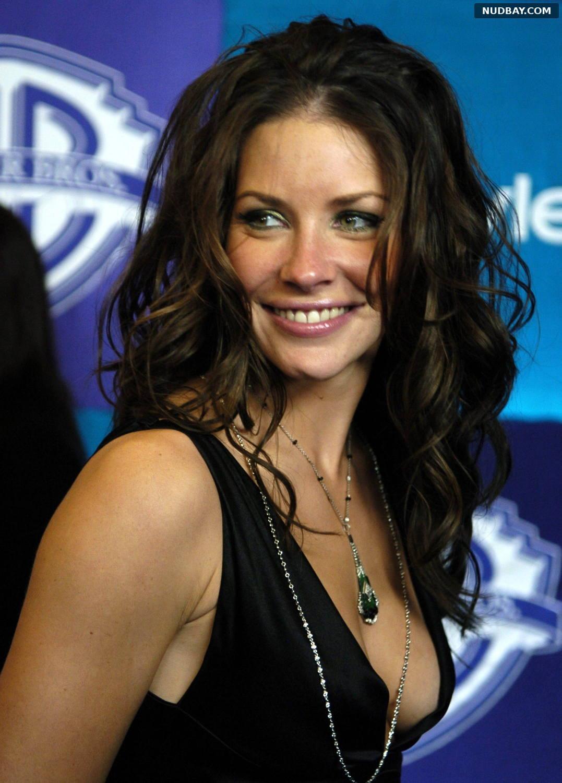 Evangeline Lilly side boobs wears a dress 2005