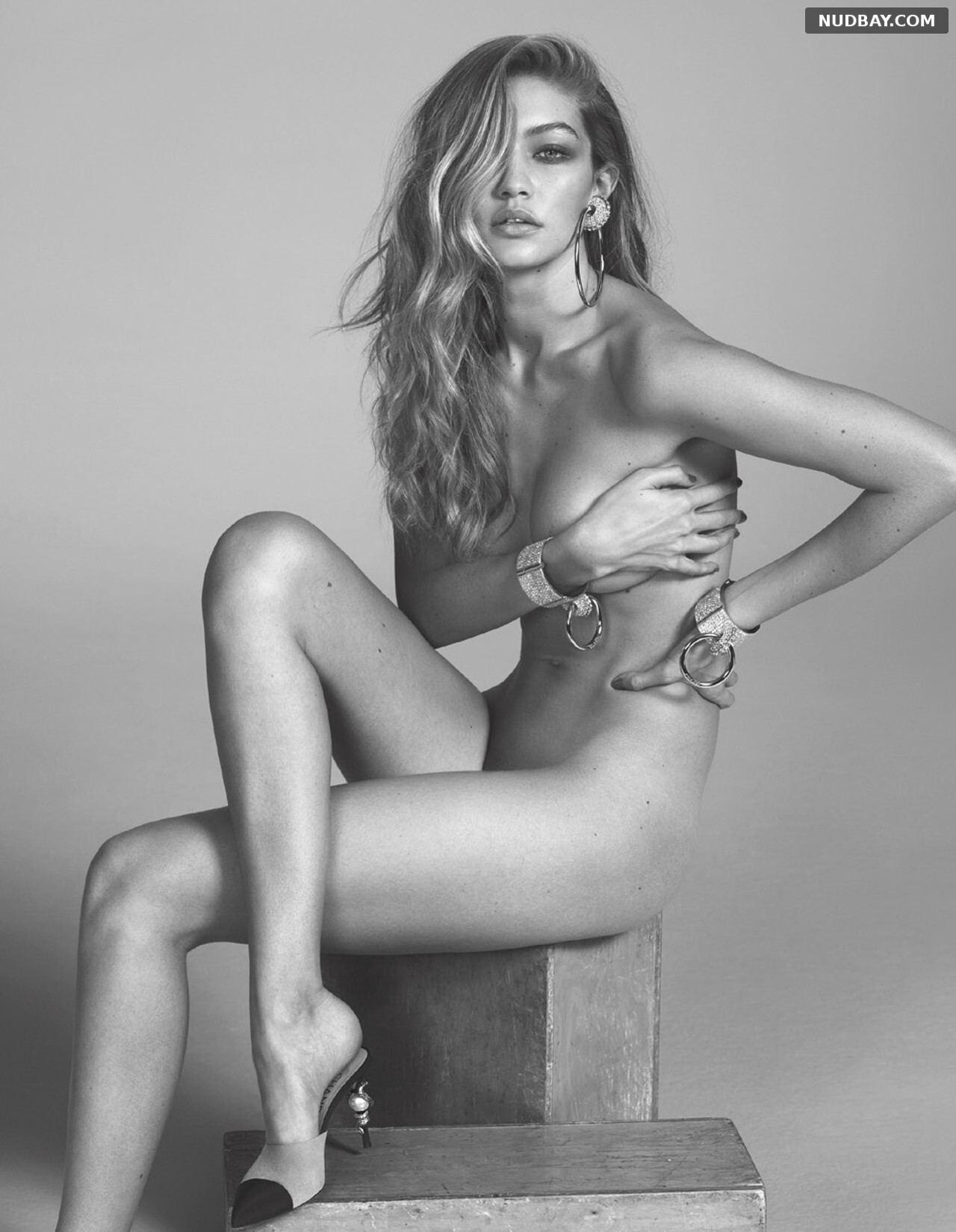 Gigi Hadid nude for photoshoot Vogue Paris March 2016