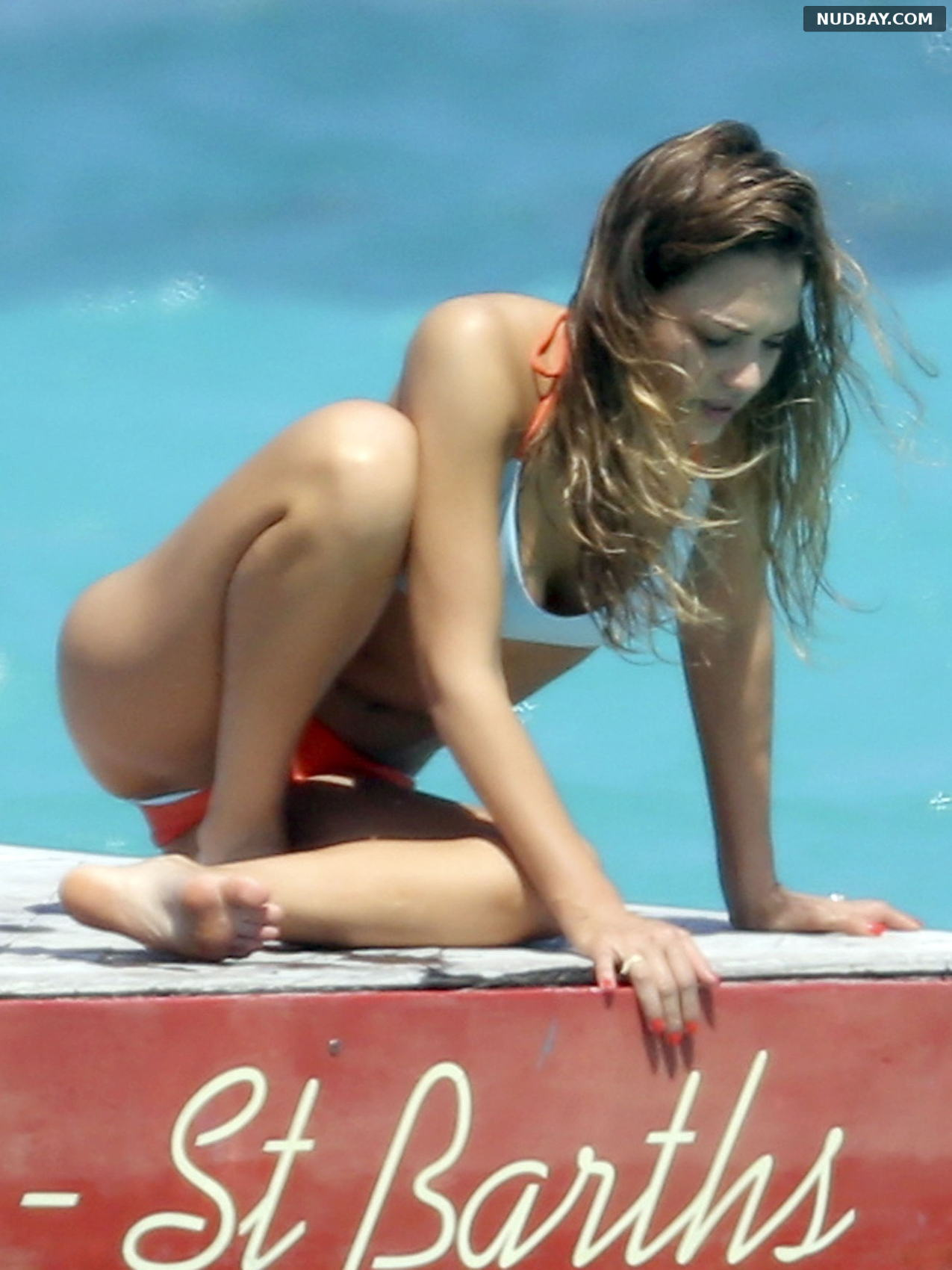 Jessica Alba pussy on the beach in St. Barts March 4 2013