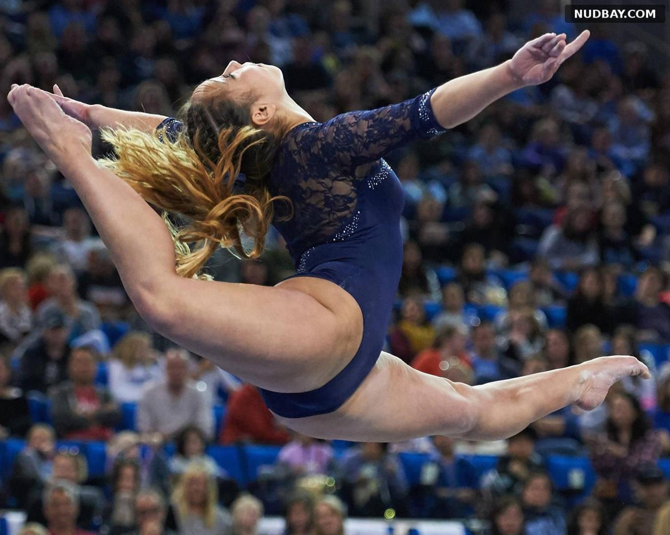 Katelyn Ohashi crotch in a blue gymnastic suit 2021