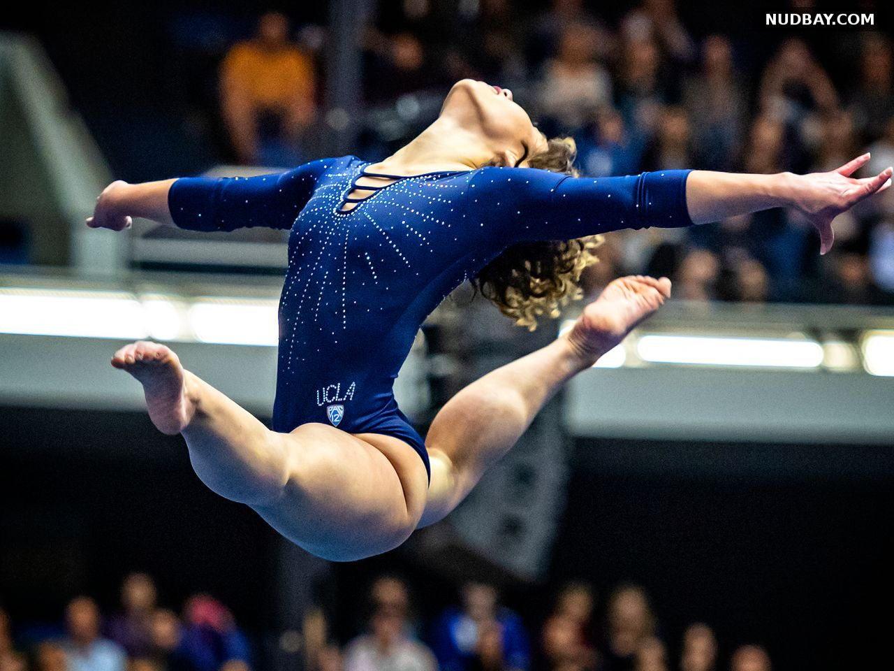 Katelyn Ohashi leggy in a blue gymnastic suit 2021