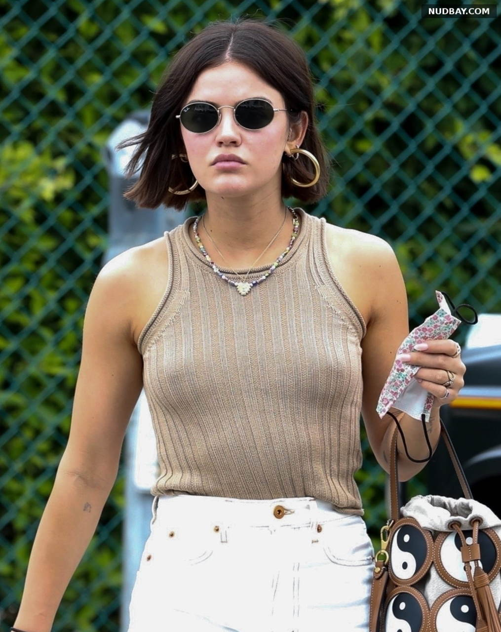 Lucy Hale braless at her stylists office in Beverly Hills Aug 11 2021