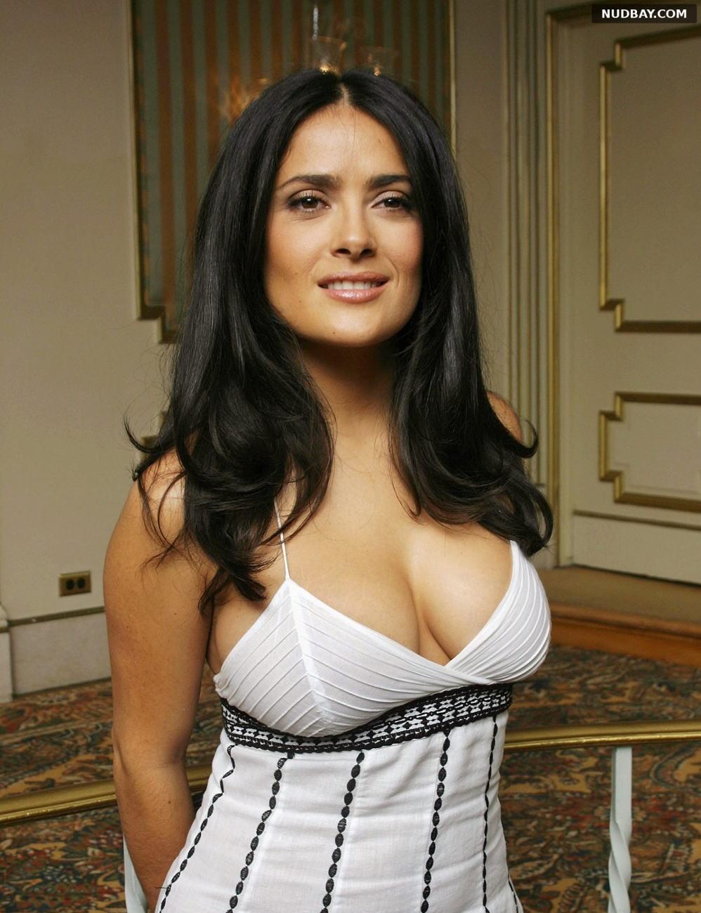 Salma Hayek cleavage big boobs in white dress 2021