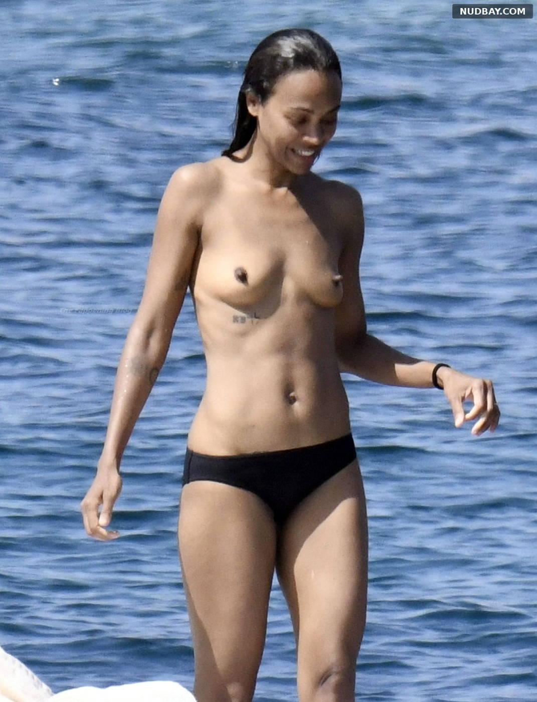 Zoe Saldana naked on a boat in Italy Aug 17 2021