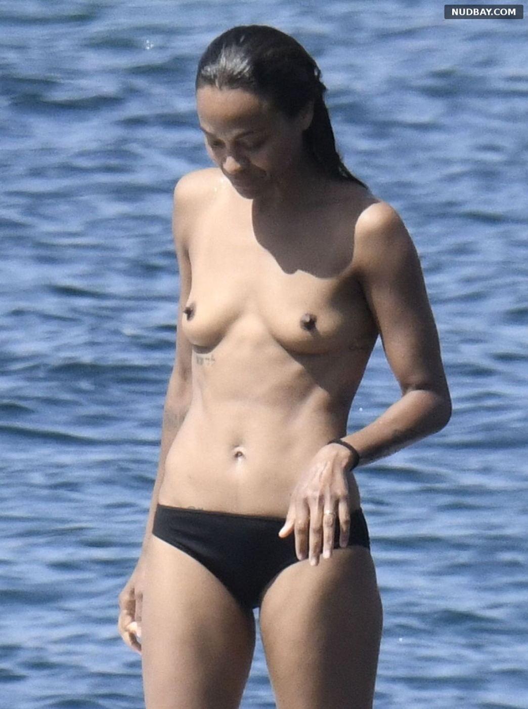 Zoe Saldana topless on a boat in Italy Aug 17 2021