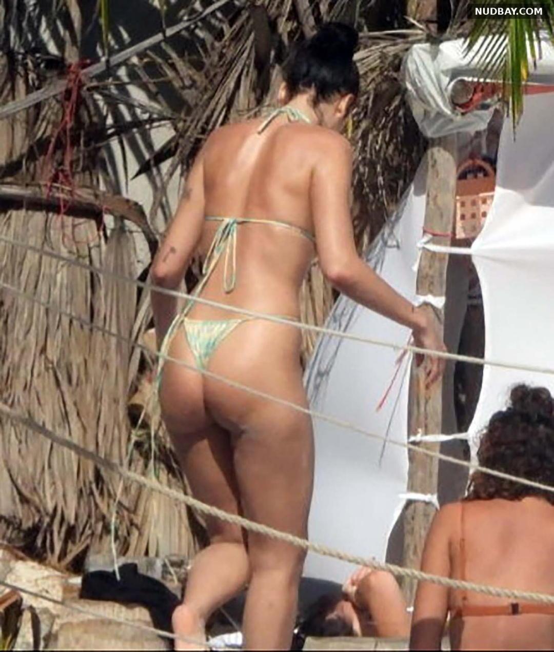 Dua Lipa Ass bikini on the beach in Tulum December 31 2020