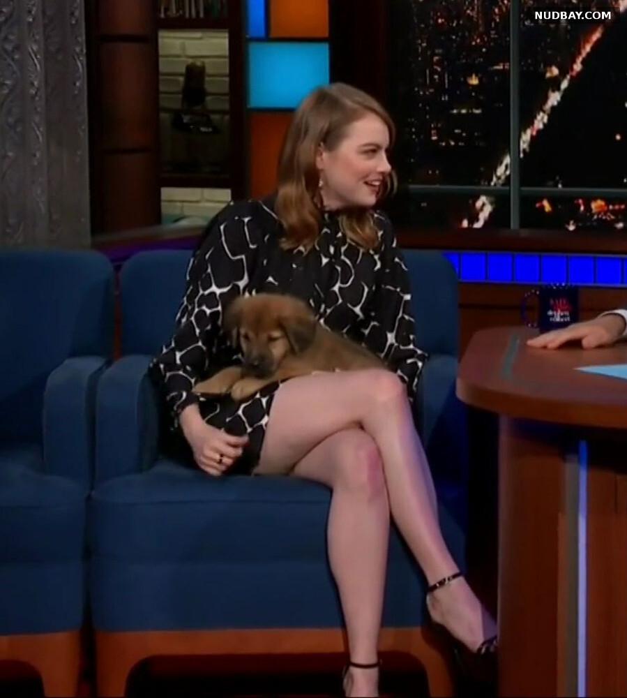 Emma Stone upskirt wears a short skirt Sep 24 2018