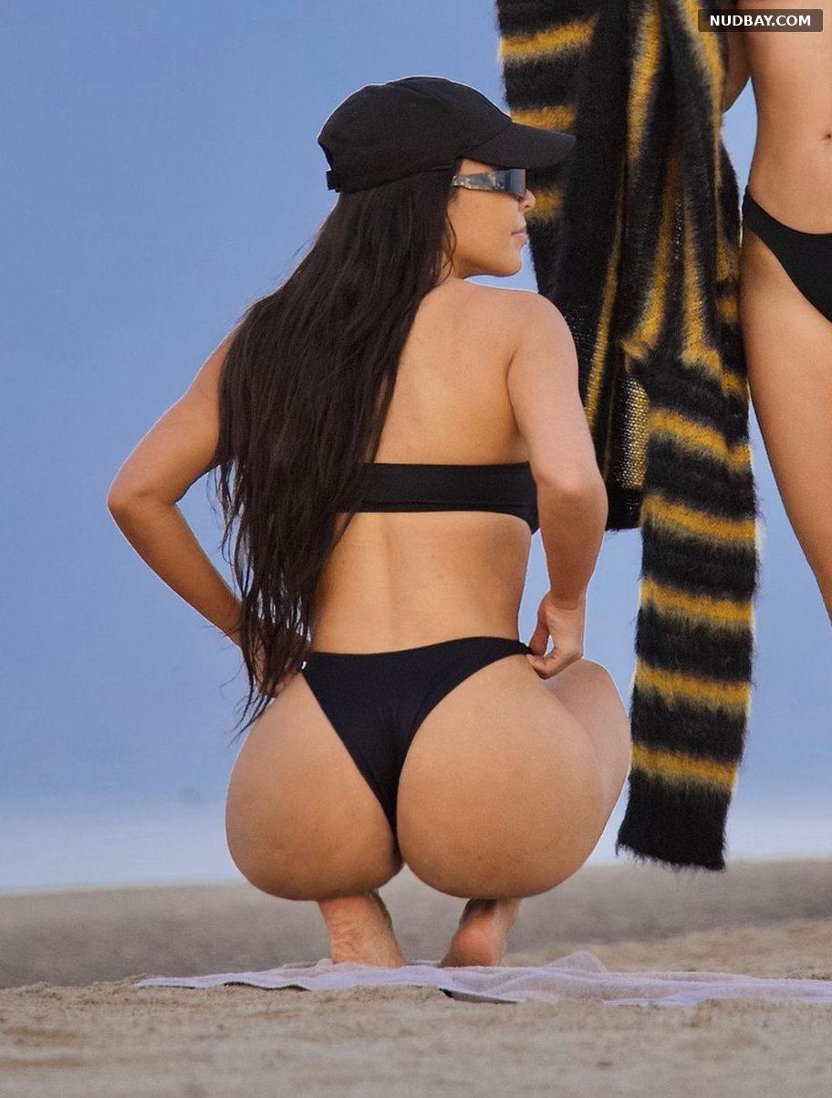 Kim Kardashian Nude in a Bikini at a Beach in Malibu Sep 27 2021