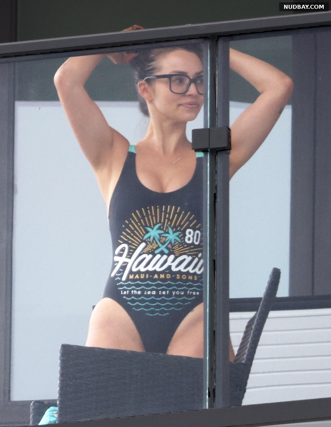 Scheana Shay in swimsuit on her balcony in Los Angeles Sep 28 2021
