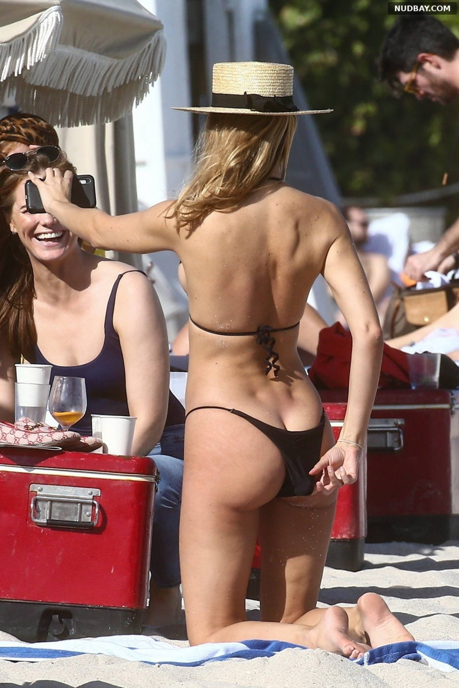 Kimberley Garner Bare Butt in bikini on the beach in Miami Jan 13 2020