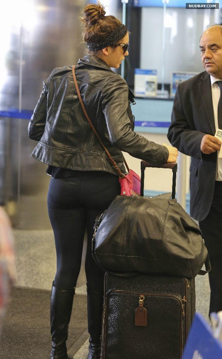 Nina Dobrev Booty in tights at LAX Airport in LA MAr 22 2014